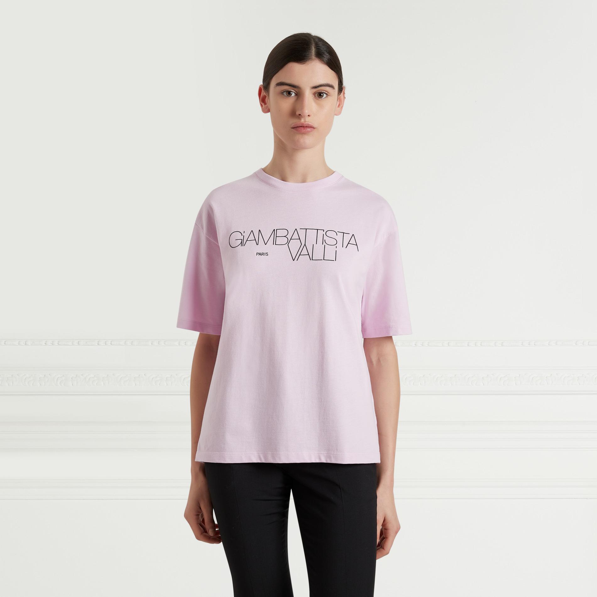 """t-shirt nera con logo """"Giambattista Valli"""" stampato è perfetta per un look casual"""